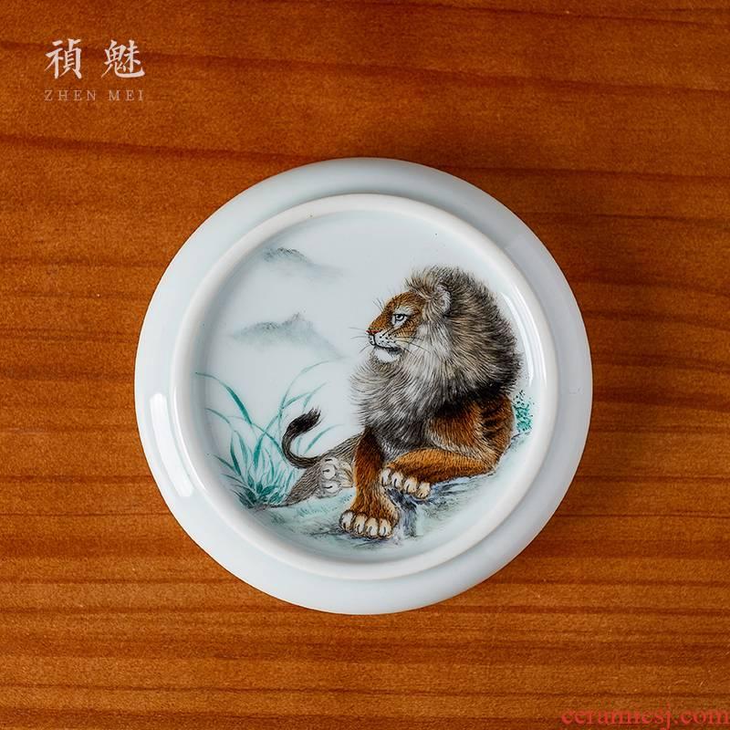 Shot incarnate the antique hand - made lion cup saucer jingdezhen ceramic kung fu tea set fittings cup cup mat
