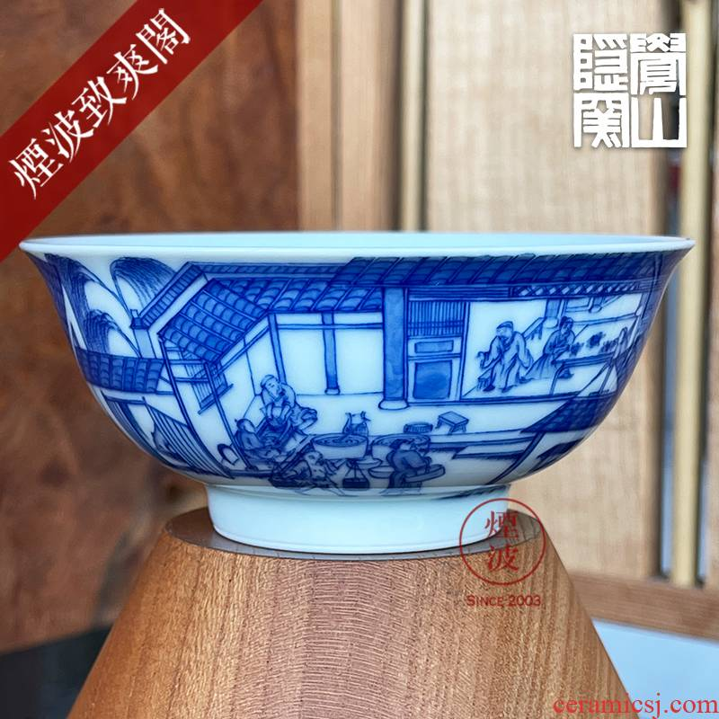 Jingdezhen sleep mountain hidden up to admire Jane with blue and white figure heavy porcelain manufacture mold figure keller cup