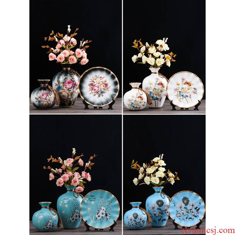 Modern new Chinese style ceramic vase lucky bamboo dried flowers sitting room Japanese zen home decoration furnishing articles