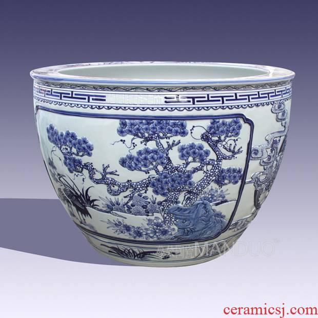 Hand painting of flowers and delicate blue large aquariums VAT jingdezhen porcelain temple vats
