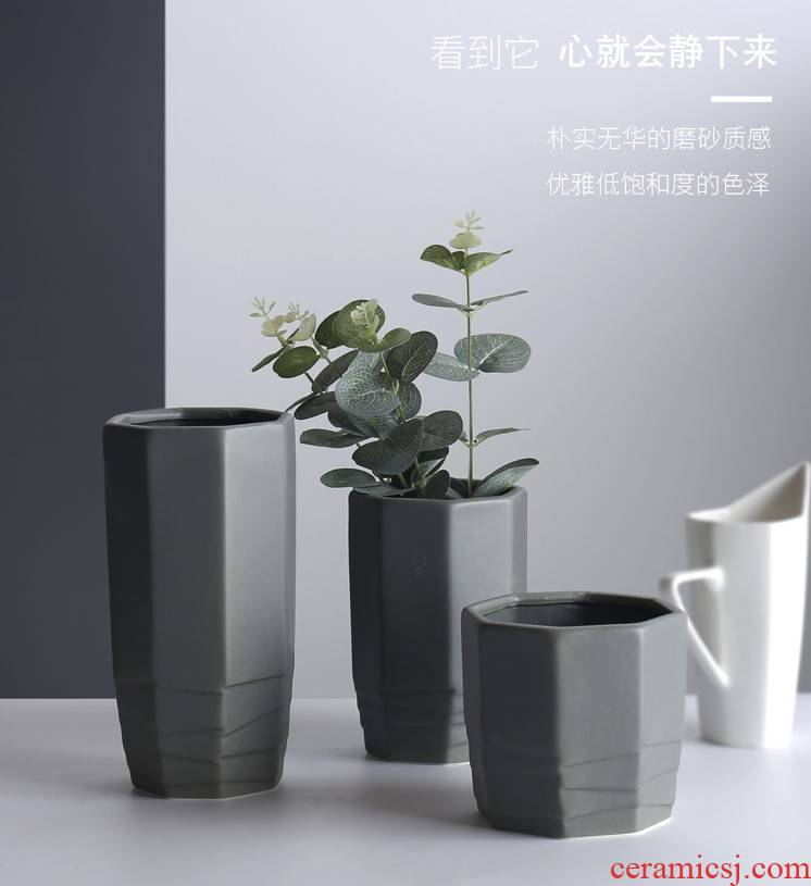 Contracted ceramic plant the flower, flower implement frosted inferior smooth vase flowerpot modern European lucky bamboo water raise flower arrangement