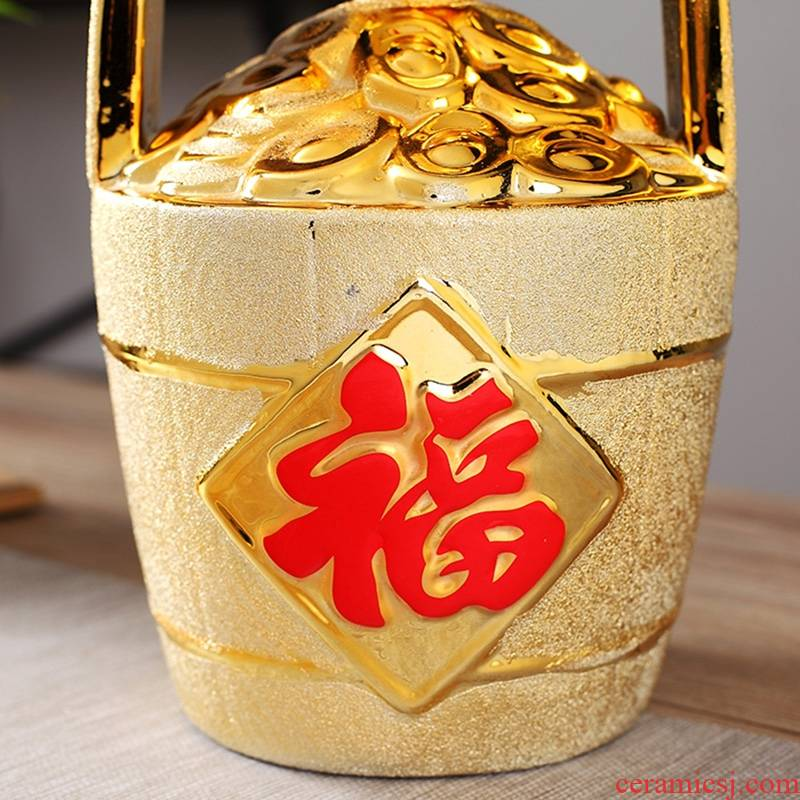 Qiao mu jingdezhen ceramic bottle handicraft decoration furnishing articles 5 jins of empty wine bottle seal it jars in a barrel
