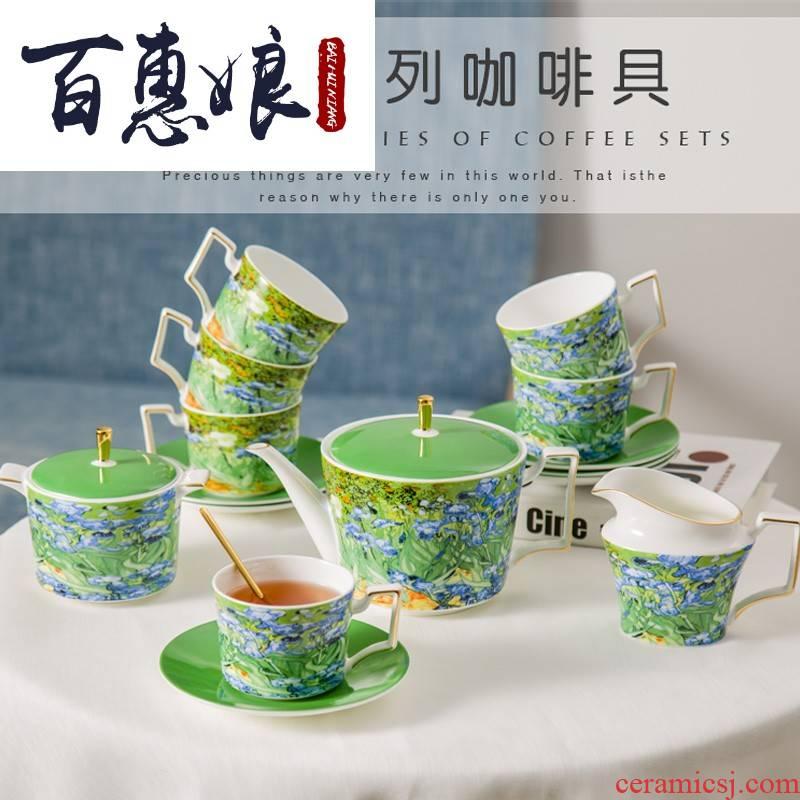 (15 English niang ipads China coffee tea set van gogh small European - style key-2 luxury ceramic coffee cup with a spoon