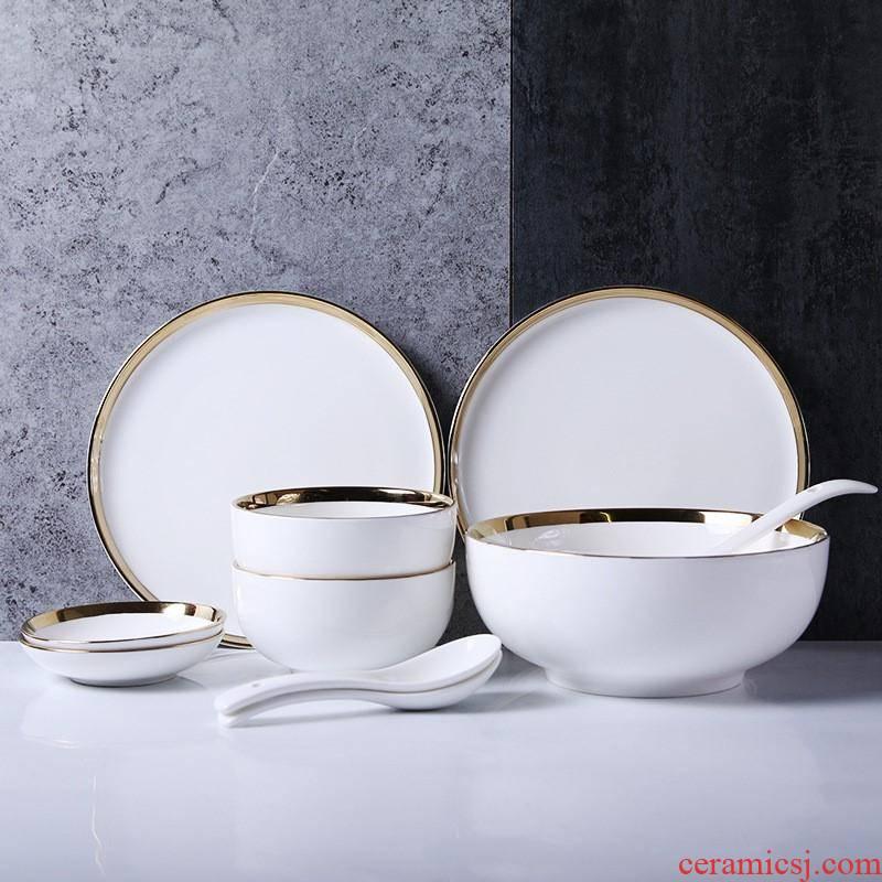The Nordic kitchen tableware ceramic dish bowl chopsticks creative dish soup bowl of household ceramic bowl dish dish suits for salad bowl
