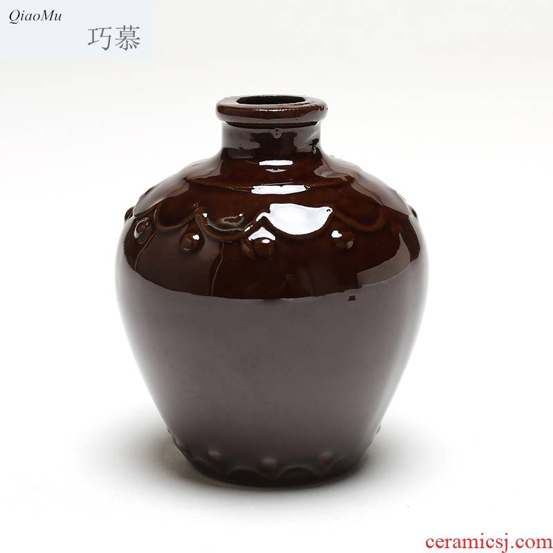 Qiao mu small ceramic bottle earthenware coarse pottery antique two 100 ml jar white wine wine wine wine wine bottle