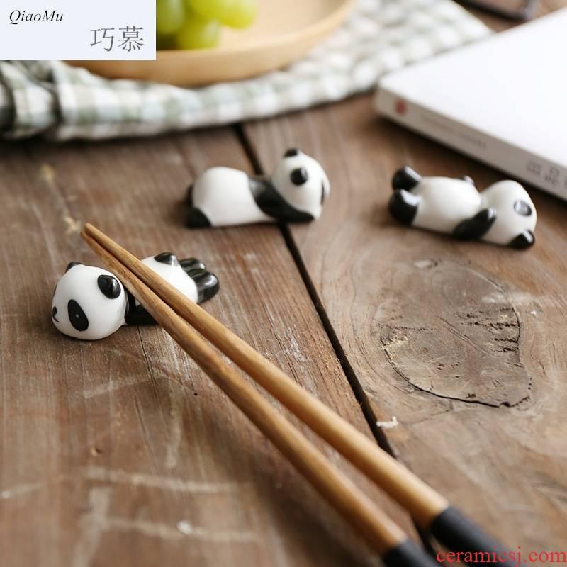 Qiao mu creative ceramic and chopsticks pillow chopsticks chopsticks frame cartoon panda chopsticks chopsticks holder of kitchen utensils supplies