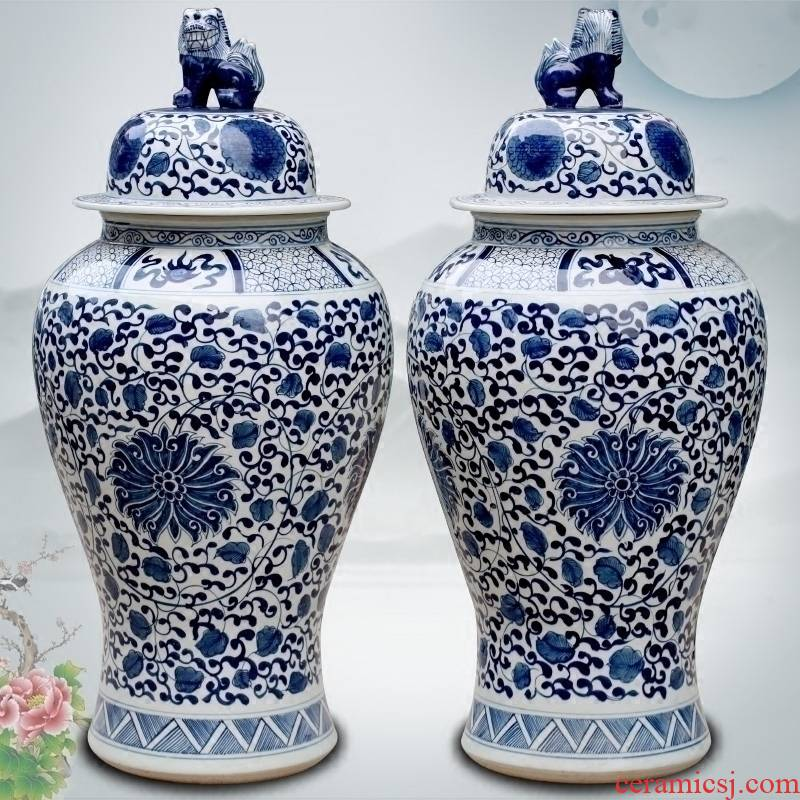 Blue and white porcelain of jingdezhen ceramics hand - made bound lotus flower of large vase household archaize sitting room place the general tank