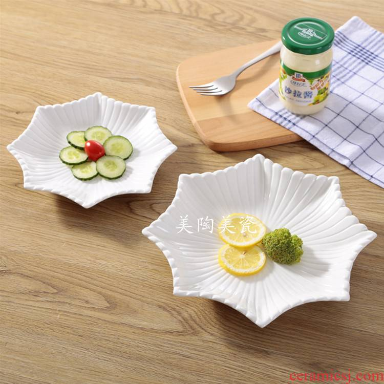 Pure white ceramic hotel tableware cold dish sugary snack dish dish snacks biscuit flat steak package mail