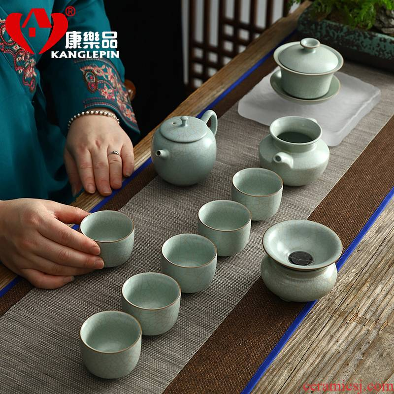 Recreational product azure your up crack glaze tea set high - grade household slicing can raise your porcelain teapot kung fu tea set