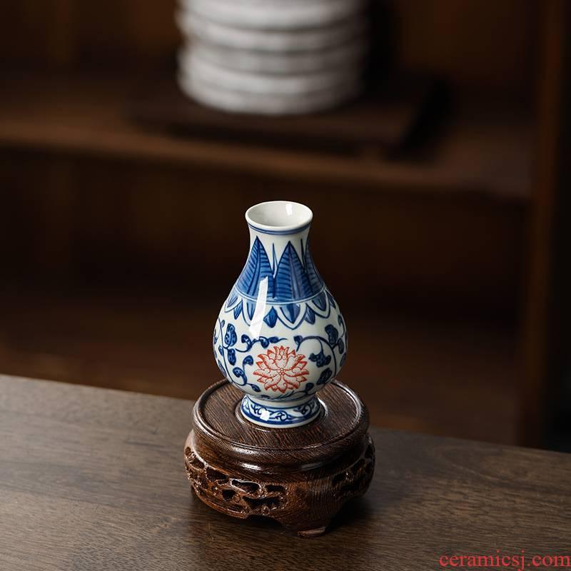 Mahogany round the teapot tank stone Buddha chicken wings wood, stone, solid wood vases, flower pot base bracket furnishing articles