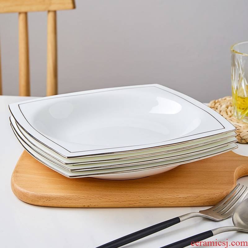 Jingdezhen white ipads porcelain plates home plate plate up phnom penh dish dish of fruit bowl ins wind square plate