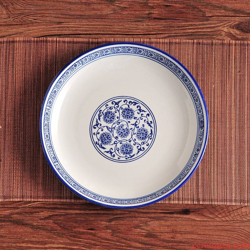 Blue and white household ceramic pepper fish head dish of steamed fish, circular FanPan fish dish dumpling dish plate