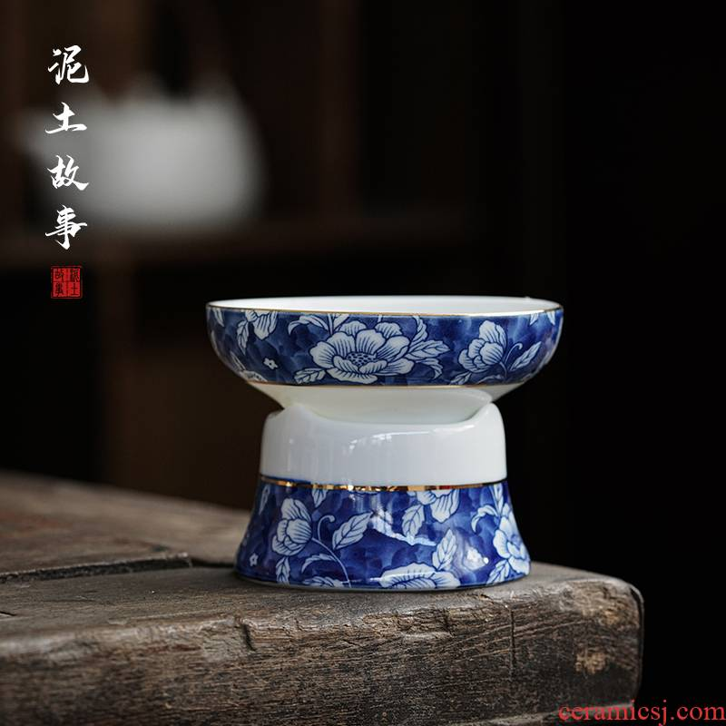 Dehua white porcelain high blue and white porcelain) group, a creative Japanese kung fu tea tea tea filter remove tea accessories