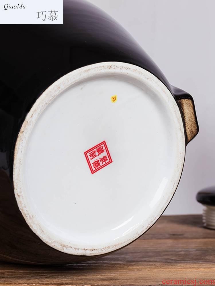 30 jin qiao mu 10 jins 20 jins archaize ceramic wine jar, black bottle wine seal hip flask seal 50 kg/sack