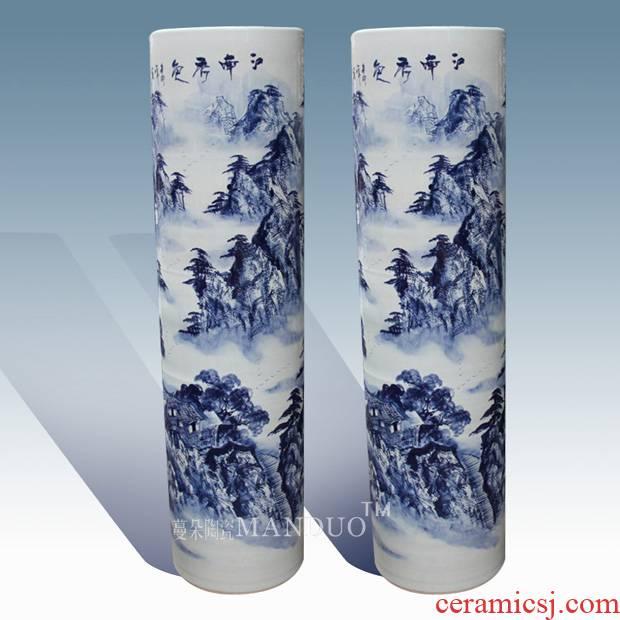 Jingdezhen hand - made landscape works of large quiver vase high - grade cultural sitting room place decorative vase