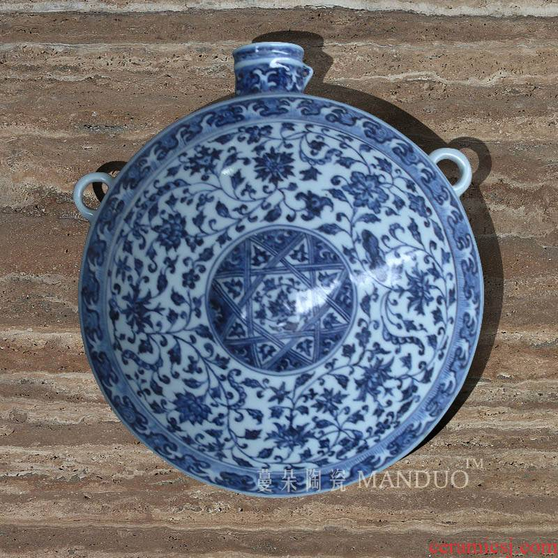 Jingdezhen hand - made porcelain flat bottles of blue and white, blue and white decoration hanging wall hanging hanging bottle hanging flat blue vase