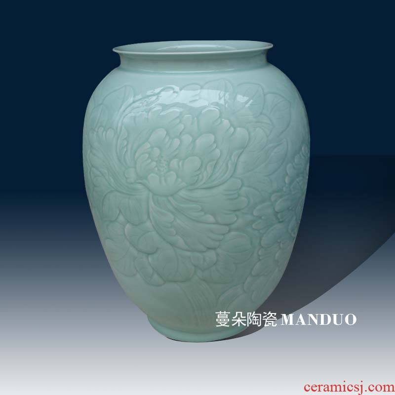 Jingdezhen anaglyph peony porcelain white gourd gourd painting porcelain vase elegant quiver quietly elegant decorative vase