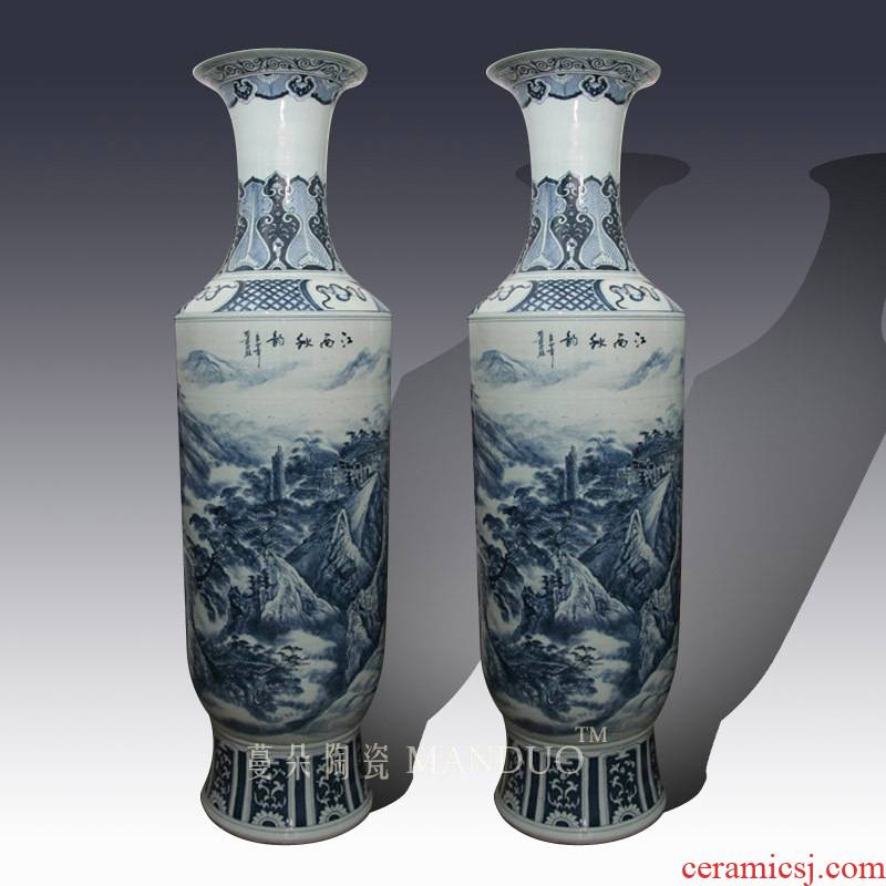 Jingdezhen blue and white landscape hand - made 2.2 meters tall vase of large enterprise opening taking presented a large vase