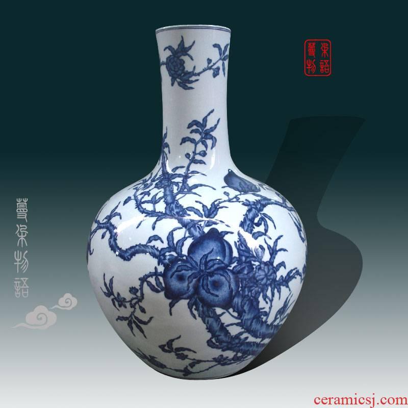 Jingdezhen fine high copy qianlong imperial style of high - grade bats celestial peach peach porcelain porcelain vase