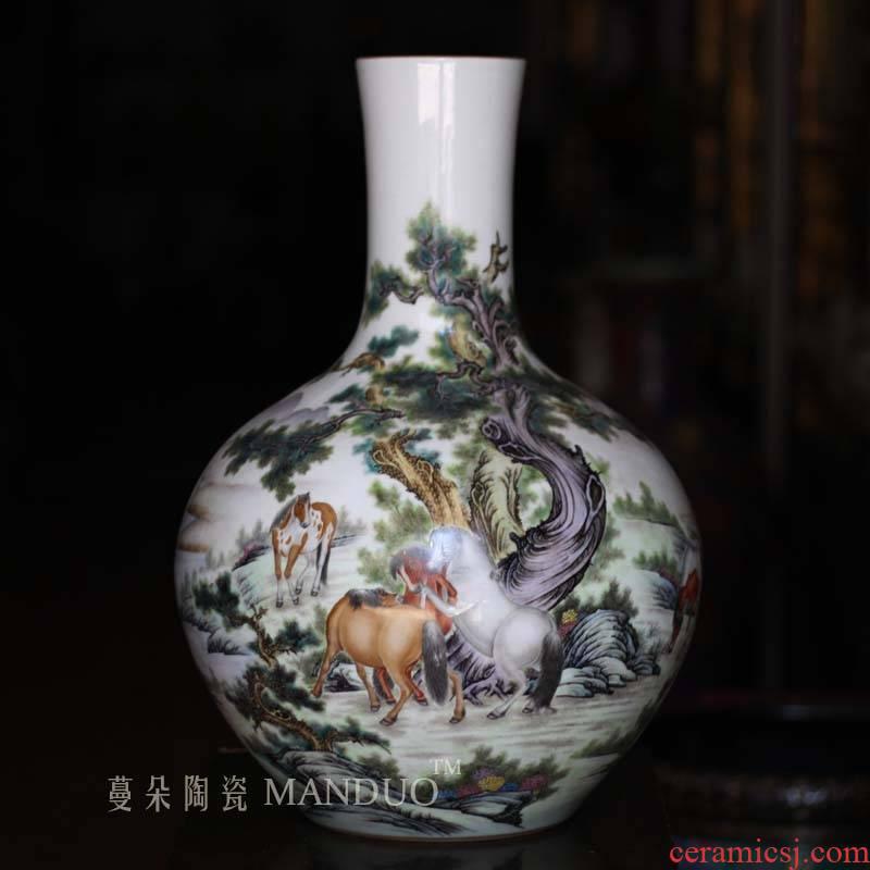 Jingdezhen guanyao steed qianlong painting pastel steeds celestial vase painting figure vase