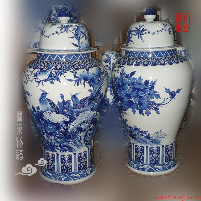 Jingdezhen blue and white peony hand - made of golden pheasant xiantao blue and white porcelain vase 110 high general hand - made tank