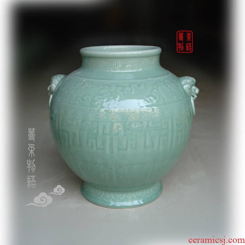 Jingdezhen high - end antique vase 30 double lion handle high about celadon about 40 high pure color cylinder quiver monochrome