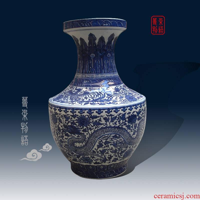 Jingdezhen grand blue hand - made coppering. As shoulder big vase style key-2 luxury porcelain vase pure hand - made