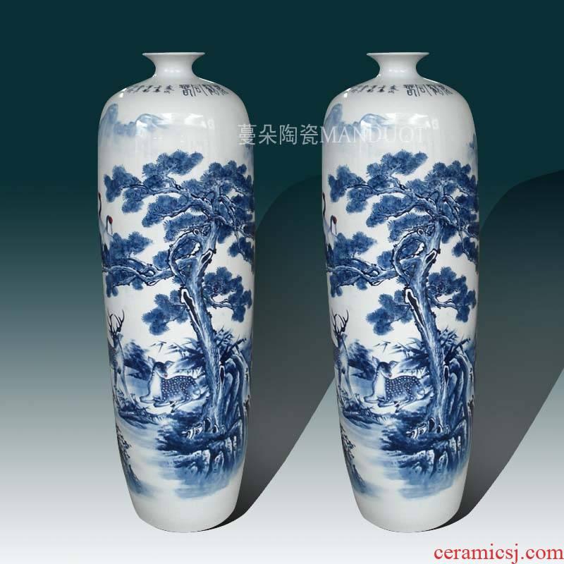 Jingdezhen hand - made crane pine deer blue and white porcelain vase, 100-110 high hand - made picture display large vase