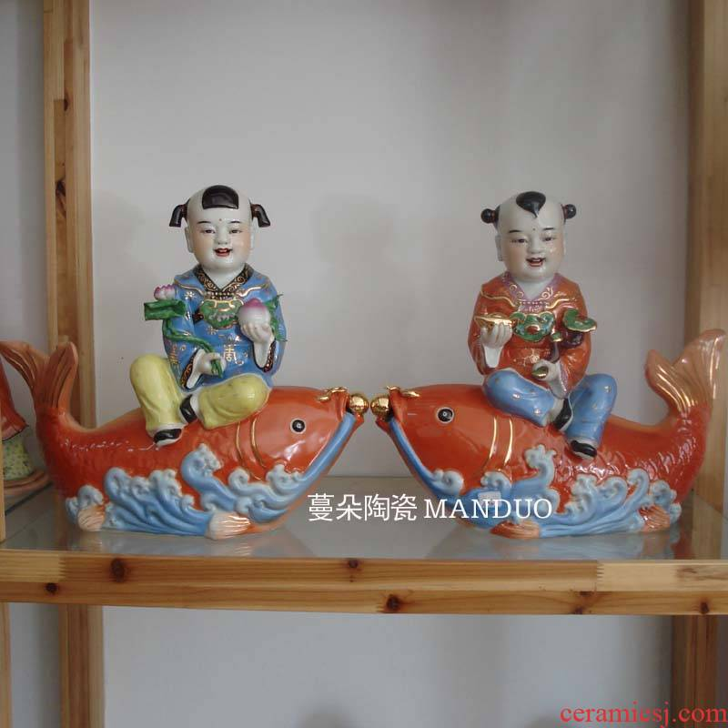 Jingdezhen virgins sit furnishing articles red carp carp its the lad jixiangruyi children 's men and women