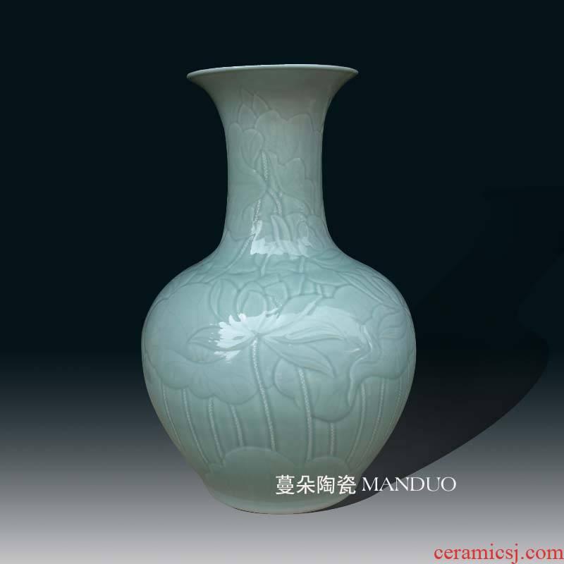 Jingdezhen shadow blue its big porcelain vase 68 cm high hand - carved lotus vase elegant vase