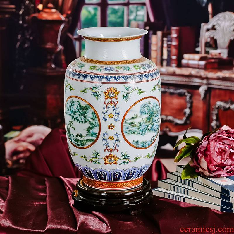Jingdezhen porcelain enamel pastel colored idea gourd vases, ceramic vases, flower adornment that occupy the home furnishing articles arts and crafts