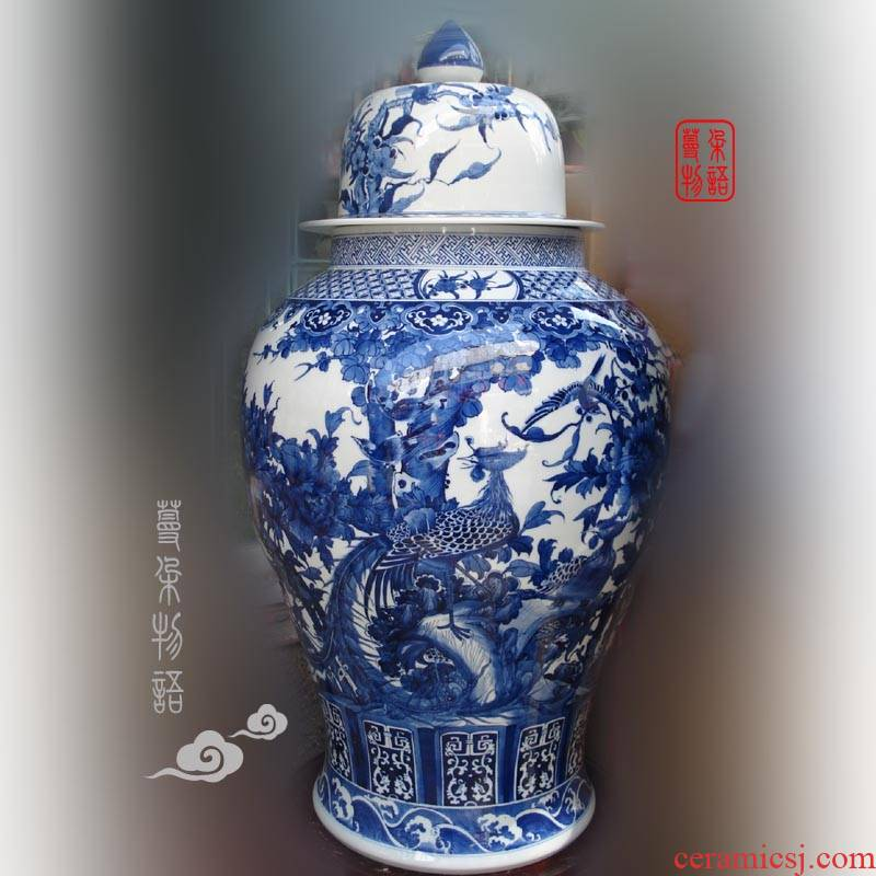 Jingdezhen blue and white peony flower adornment hand - made porcelain, 90-100 cm high general blue peacock general pot