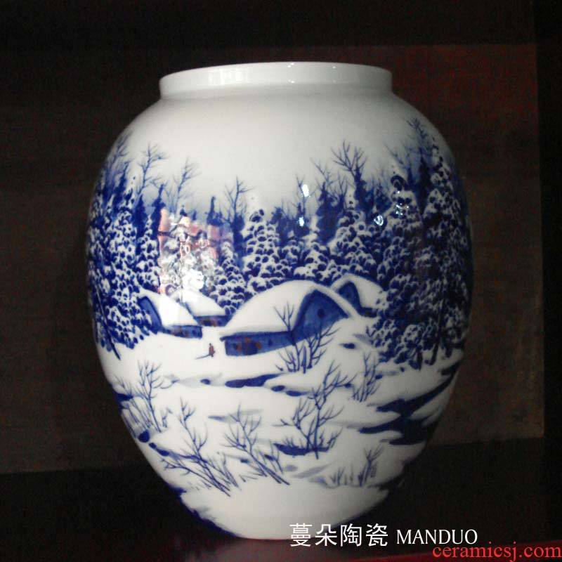 Jingdezhen painting jing ya meditation romantic snow porcelain vase porcelain picture painting snow vase