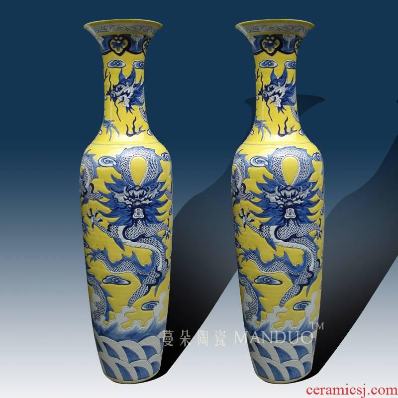 Jingdezhen blue and white, yellow dragon air 1.8 meters & ndash; 3 meters high landing big vase elegant high - grade large vase