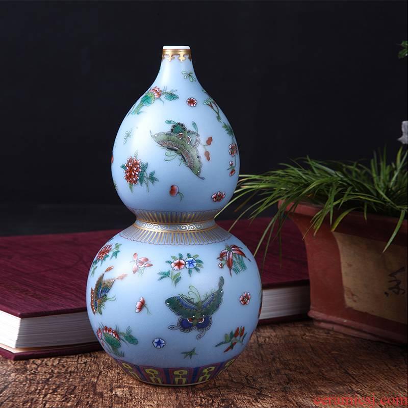 Jingdezhen ceramics colored enamel gourd vase household gift mesa new furnishing articles of handicraft