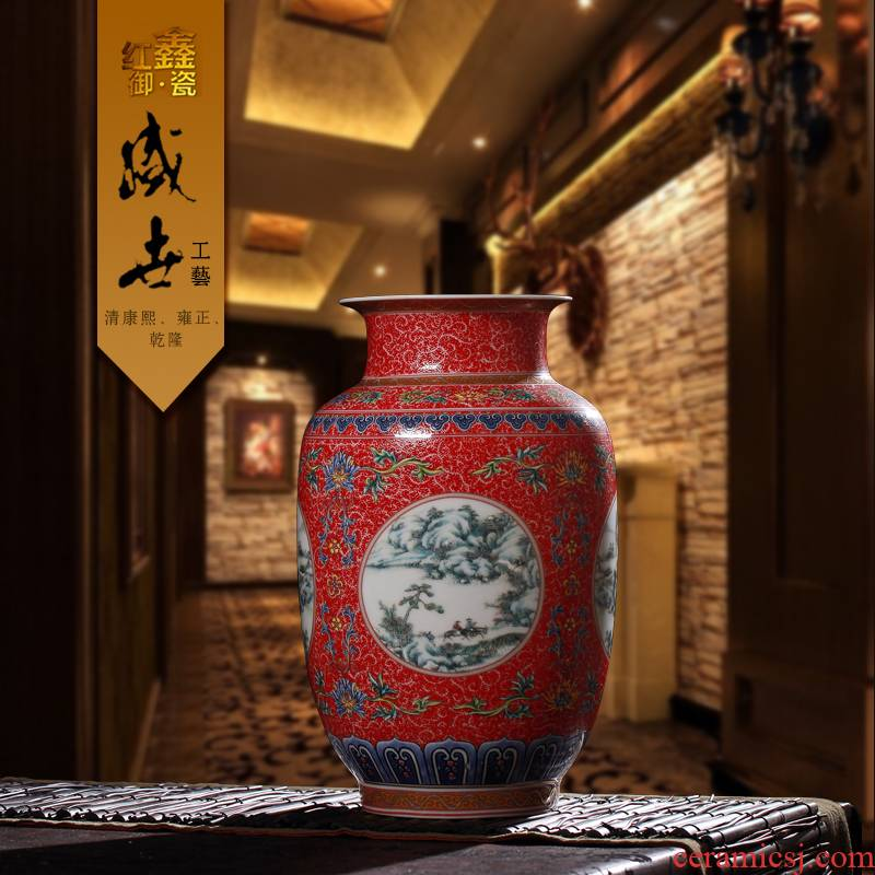 Archaize of jingdezhen ceramic vases, flower implement receptacle furnishing articles live mesa enamel vase Chinese style classical process