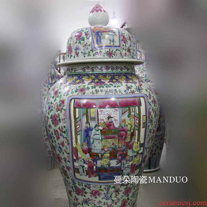Jingdezhen hand - made archaize pastel general large jar of ancient three kingdoms characters display large furnishing articles vase