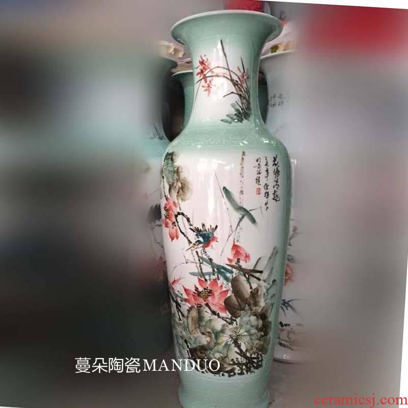 Jingdezhen painting mandarin fish lotus sitting room hall stair vase painting landscape welcome large vase