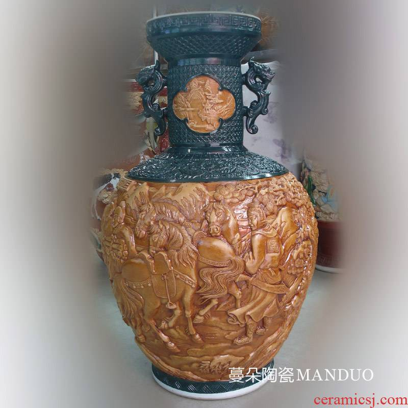 Jingdezhen relief of three porcelain bottle ears is great reward antique porcelain of three big vase reliefs