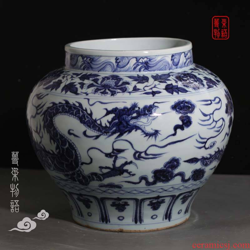 Yuan blue and white dragon large pot of jingdezhen porcelain hand - made Yuan blue and the white unicorn big classic Yuan blue and white porcelain pot