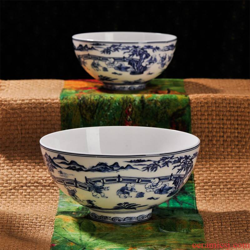 Jingdezhen blue and white porcelain baby play figure checking ceramic bowl rainbow such use tableware suite instant noodles bowl of the big job
