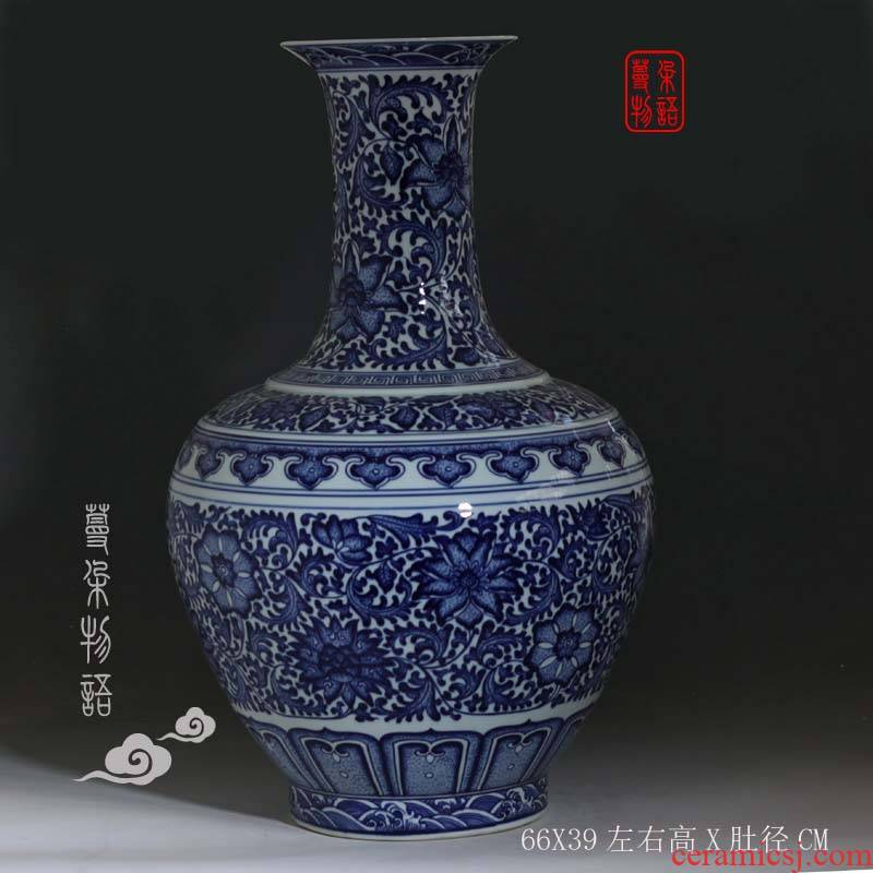 Jingdezhen 60-70 cm tall hand - made bound to admire the lotus flower blue and white porcelain bottle of blue and white imitation imitation qianlong imperial vase