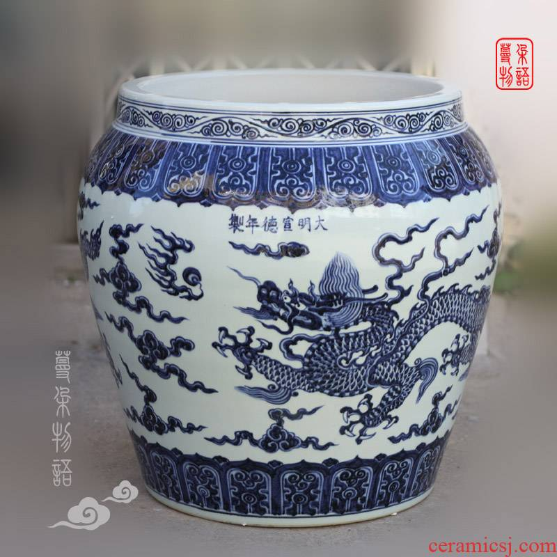 Jingdezhen high copy XuanDeLong grain porcelain VAT Sue linen from green jintong fierce dragon big cylinder air high copy
