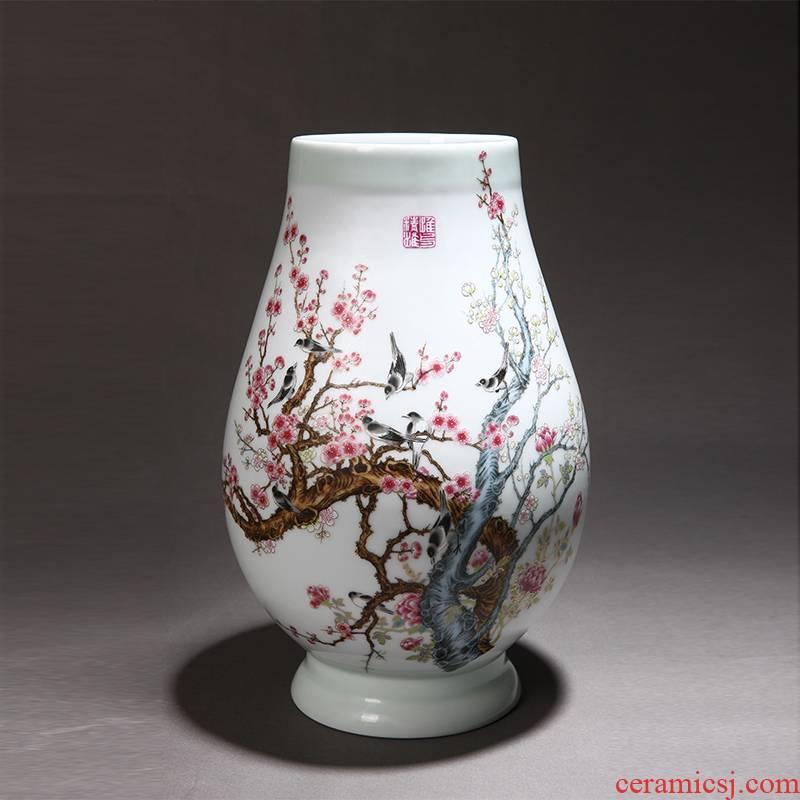 Jingdezhen ceramics powder enamel vase hong mei household handicraft furnishing articles sitting room home decoration business gifts