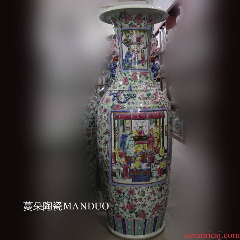 Jingdezhen hand - made pastel antique decorative vase antique decoration building greeter feel decoration elegant vase