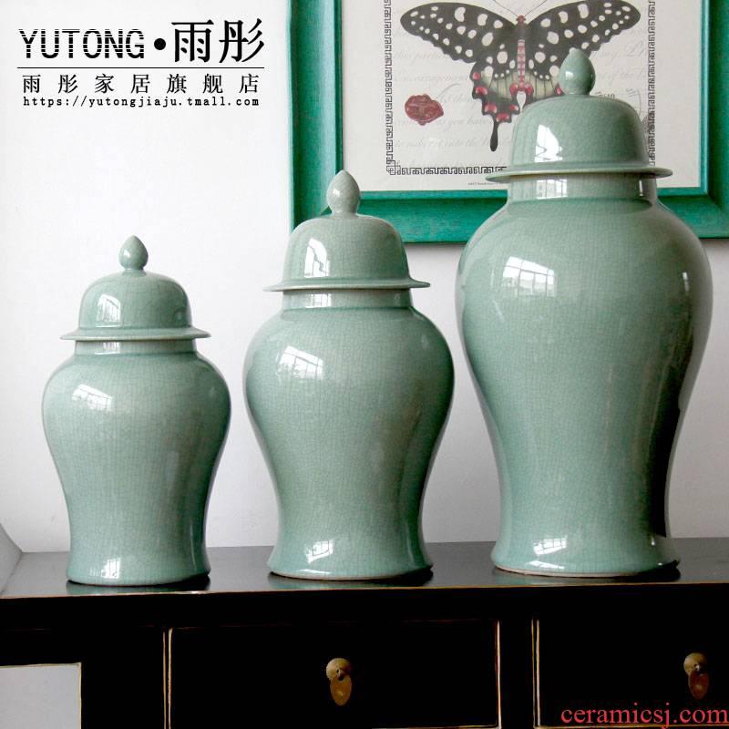 Jingdezhen ice cracked piece of ceramic glaze decoration storage pot home furnishing articles jade bottle business hall