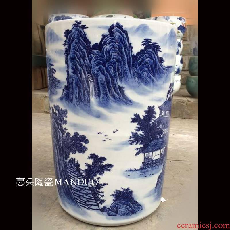 Jingdezhen blue and white landscape landscape umbrella barrel quiver big brush pot collection value - added vase sitting room adornment
