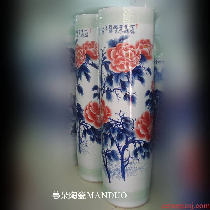 Jingdezhen hand - made straight quiver, 1.4 to 1.6 meters high landing big vase hand - made riches and honor peony vases