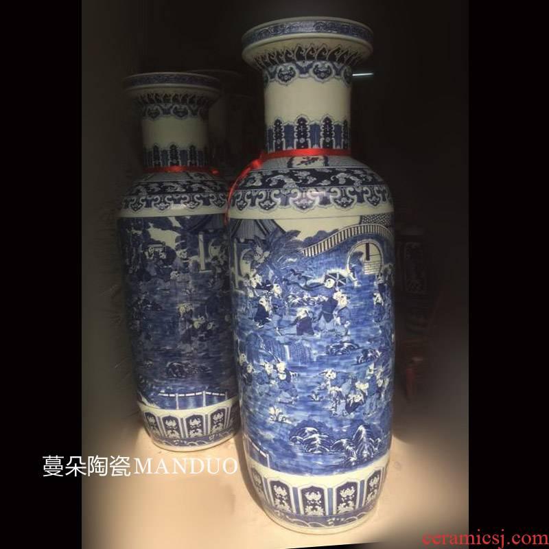 Jingdezhen blue and white, the ancient philosophers hand - made figure art vase culture study sitting room place hand - made figure vase the ancient philosophers