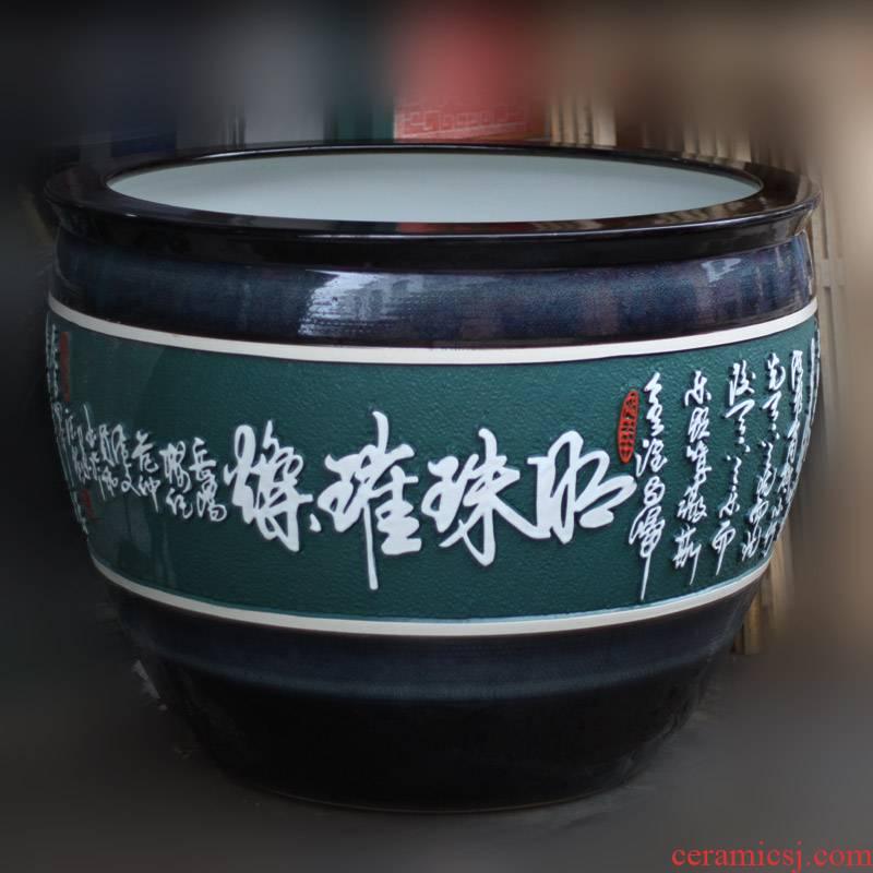 Engraving of jingdezhen porcelain is big fish big cylinder water lily lotus ceramic cylinder courtyard China VAT